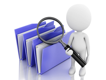 3d renderer image. White people with a magnifier glass examines folders. Isolated white background Stock fotó