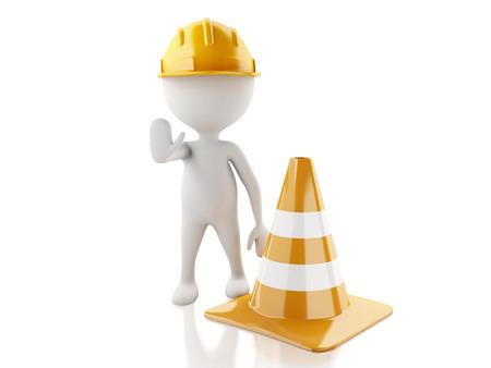 3d renderer imagen. Weiße Menschen mit Helm und Leitkegel. Isolierte weißem Hintergrund. Standard-Bild - 35811946
