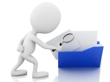 3d renderer image. White people with a magnifier glass examines folder. Isolated white background