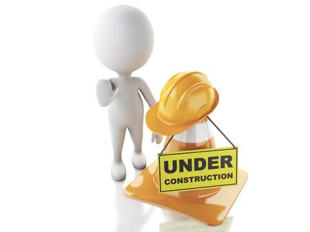obrero caricatura: Imagen de render 3d. Los blancos dejan de firmar con conos de tráfico. Bajo el concepto de construcción .. Fondo blanco aislado.