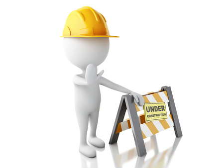 under construction sign: 3d renderer imagen. White people with Helmet.  Under construction concept.. Isolated white background.