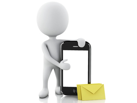 3d white people with mobile phone and sms. Isolated white background. 3d image photo