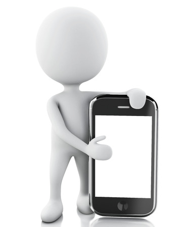 3d renderer image. White people next to the smartphone. Isolated white background photo