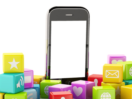 3d image. Smartphone with cloud of Application Icons. Isolated white background photo