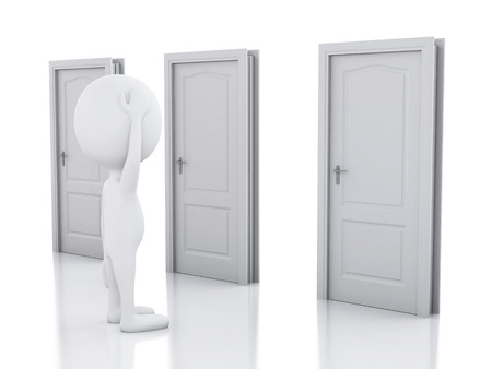 3d image. White people and three doors, doubtful. Choice concept on white background
