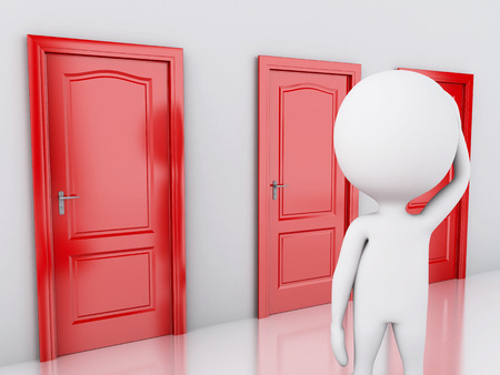 choice concept: 3d image. White people and three doors, doubtful. Choice concept on white background