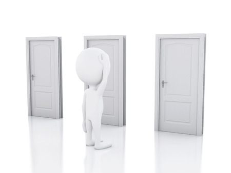 doubtful: 3d image. White people and three doors, doubtful. Choice concept on white background