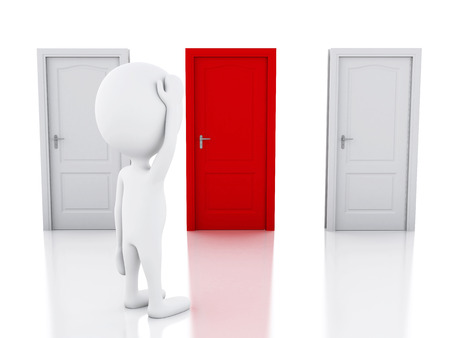 3d image. White people and three doors, doubtful. Choice concept on white background Stock Photo - 36162309