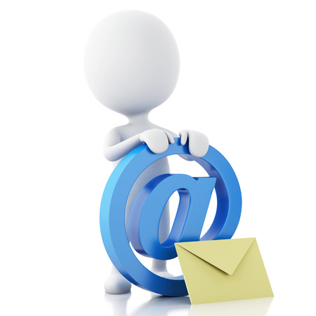 3d renderer image. White people with email symbol and envelope. Isolated white background