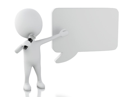 3d renderer image. White people with a blank speech bubble. Communication concept. Isolated white background