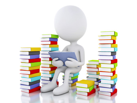 3d renderer image. White people reading a book. Isolated white background. photo