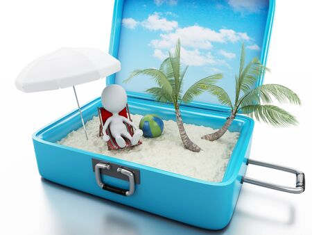 3d renderer image. White people in a travel suitcase. beach vacation concept. Isolated white background photo