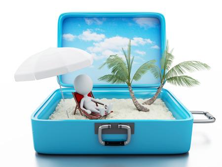 3 d レンダラーのイメージ。旅行スーツケースの白人の人々。ビーチ休暇の概念。孤立した白い背景 写真素材