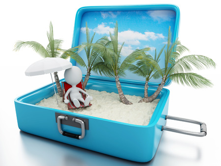 3d renderer image. White people in a travel suitcase. beach vacation concept. Isolated white background