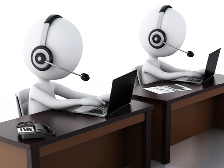3d image. White people with a Headphones with Microphone and laptop. Employees working in a call center. photo