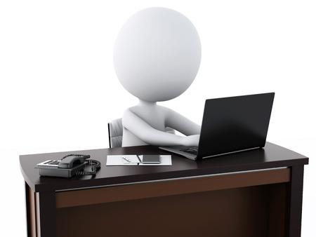 3 d 画像。白いビジネス人々 はオフィスで働いています。孤立した白い背景 写真素材