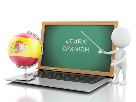 3d renderer imagen. White people with laptop. Learn spanish concept. Isolated white background photo