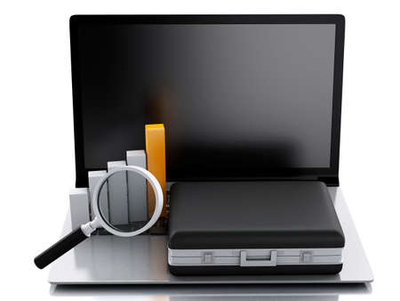 3d renderer image. Briefcase, statistic graph and laptop pc. Business office concept. Isolated white background photo