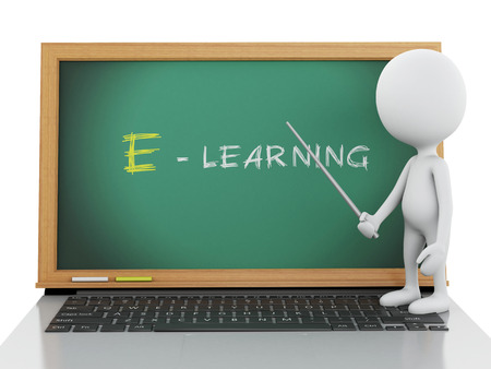 e learning: 3d renderer image. White people with laptop pc. E- learning concept. Isolated white background