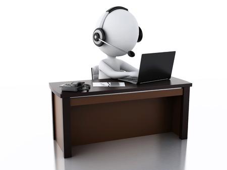 3D-beeld. Witte mensen met een koptelefoon met microfoon en laptop. Werknemers die werken in een callcenter. Stockfoto