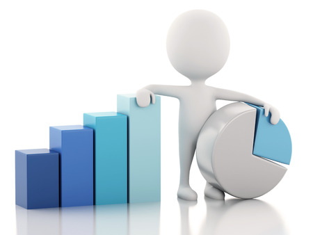 3 d レンダラーのイメージ。白人ビジネス統計グラフ。成功のコンセプトです。孤立した白い背景