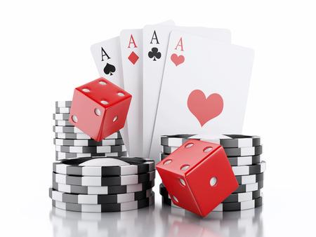 3 d レンダラーのイメージ。サイコロ、カード、チップ。カジノのコンセプトは、孤立した白い背景。