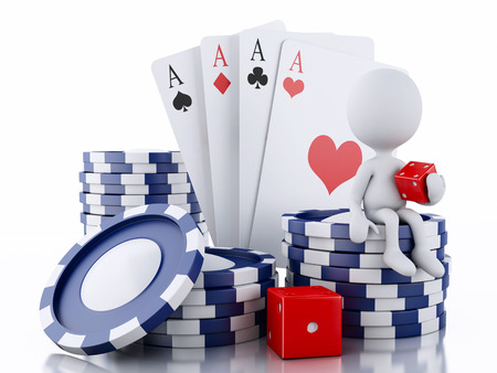 3d renderer image. White people with casino tokens, dice and playing Cards. Casino concept, Isolated white background photo