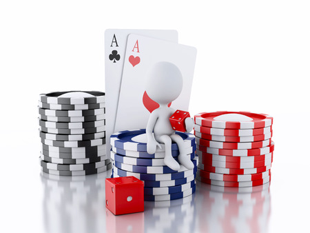tokens: 3d renderer image. White people with casino tokens, dice and playing Cards.