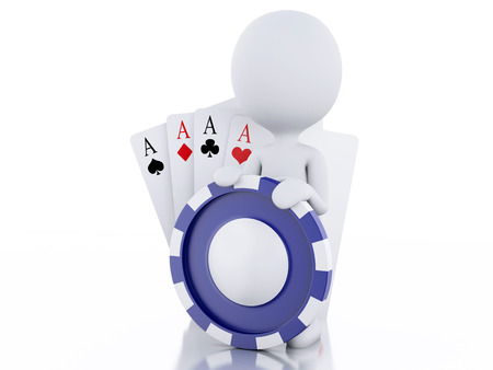 tokens: 3d renderer image. White people with casino tokens and playing Cards.