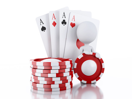 tokens: 3d renderer image. White people with casino tokens and playing Cards. Casino concept, Isolated white background