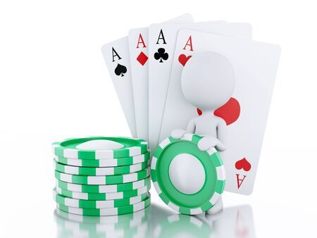 tokens: 3d renderer image. White people with casino tokens and playing Cards.  Stock Photo