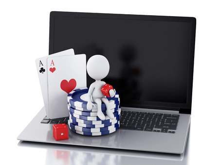 3d image White people with dice, chips and cards. Casino online games concept.  photo