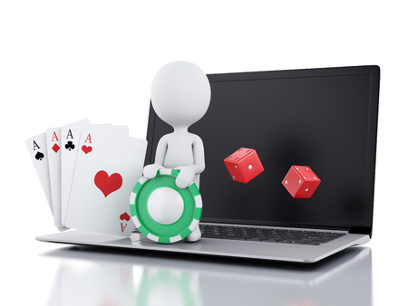 3d image White people with dice, chips and cards.