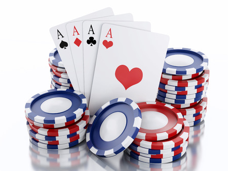 3d rendered image Casino tokens and Playing Cards.  photo
