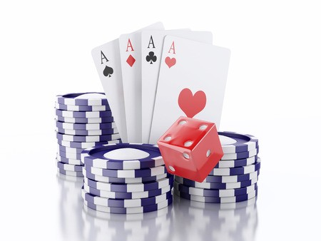 3d rendered image Dice, cards and chips.  photo