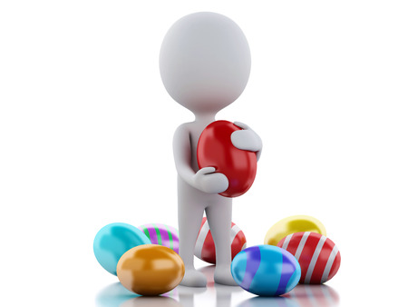3d rendered image White people holds big Easter egg in a hand. photo