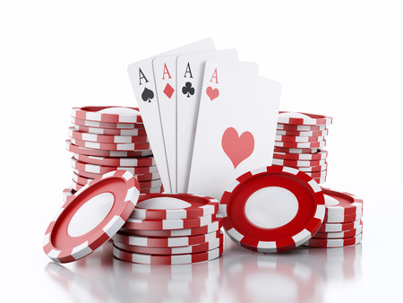 3d renderer image. Red casino tokens and Playing Cards. Casino concept, Isolated white background Archivio Fotografico