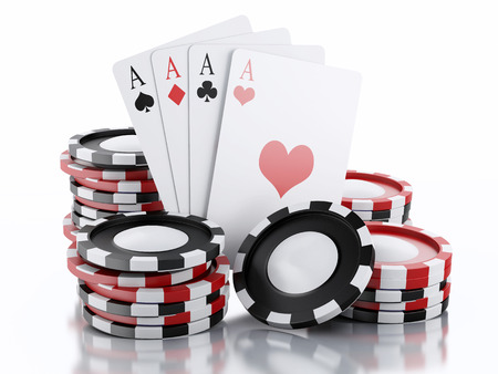 casino game: 3d rendered image Casino tokens and Playing Cards.