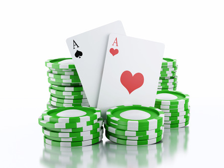 tokens: 3d rendered image Green casino tokens and Playing Cards.