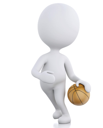 3d renderer image. White basketball player with ball. Isolated white background photo