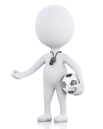 soccer coach: 3d renderer image White people soccer coach with soccer ball.  Stock Photo