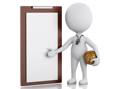coaching: 3d rendered image White basketball coach with Clipboard and ball