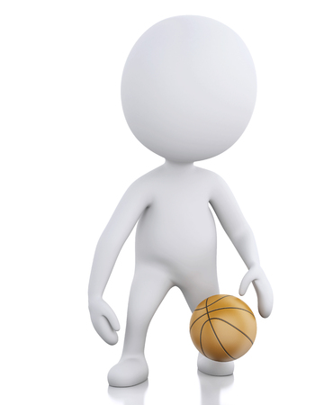 3d rendered image White basketball player with ball. photo