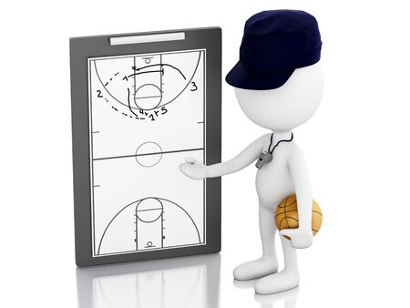 clipboard isolated: 3d renderer image. White people coach with Clipboard. Isolated white background