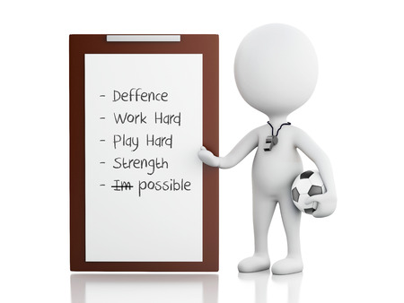 soccer coach: 3d rendered image White people coach with Clipboard and soccer ball.