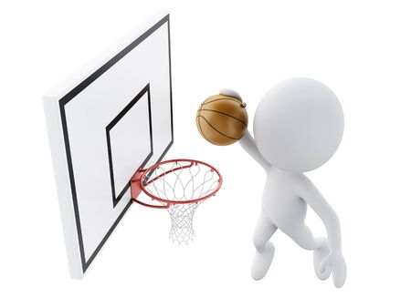 dunking: 3d image White people playing basketball trying to score. Stock Photo