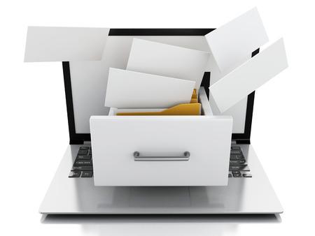 image of 3d renderer illustration. Laptop and files. Data storage.