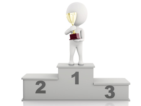 3d illustration. White people winner on sports podium with trophy. Isolated white background