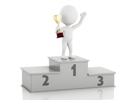 winner podium: 3d illustration. White people winner on sports podium with trophy. Isolated white background