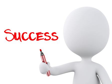 3 d 画像。赤いマーカーは、白人の人々。成功のコンセプトは、隔離された白い背景。